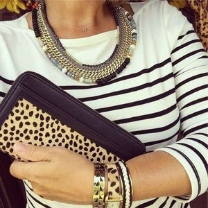 STELLA & DOT Covet Calf-hair Clutch Leopard Print